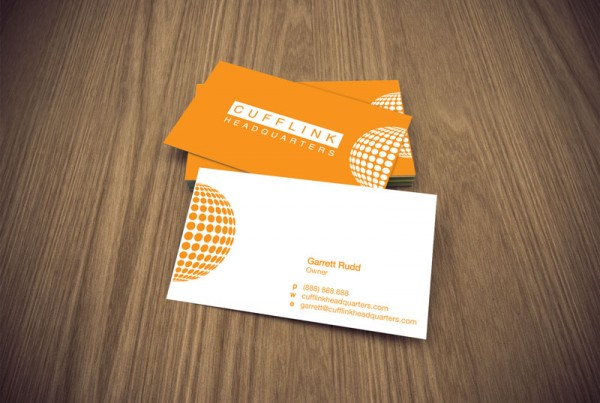 Business card design for the company Cufflink Headquarters.
