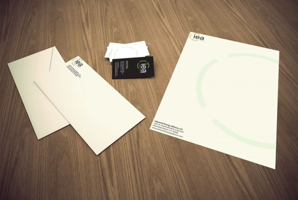 Stationery package design for the company Industrial Energy Alliance.
