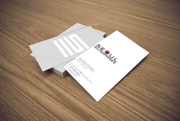 Business card design for the company Seoul Enterprises.