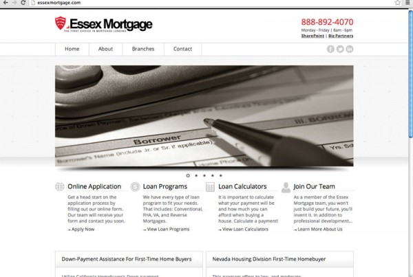 Website design for a mortgage company.