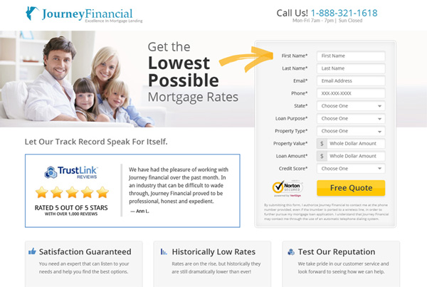 Journey Financial Landing Page